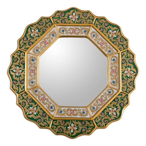 Green Star Artisan Handmade Home Decor Hand Painted Floral White Deep Green Blue Gold Hall Bedroom Bathroom Wall Mirror (Peru)