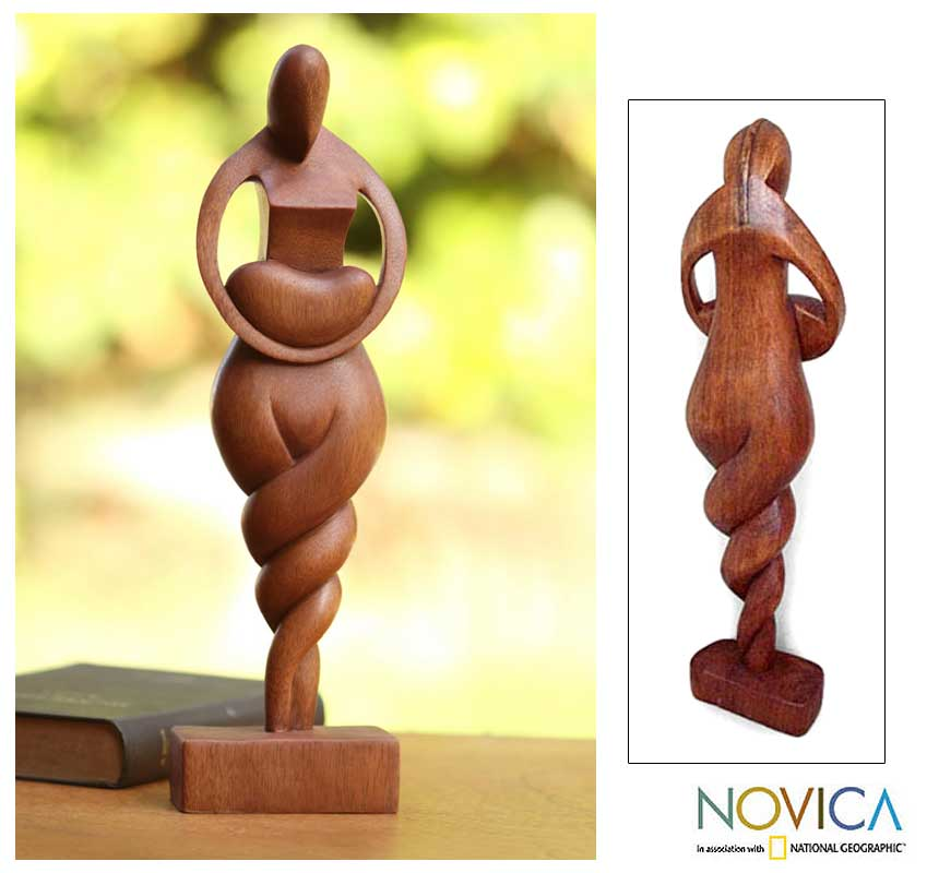 Handmade 'Mother Love' Wooden Statuette (Indonesia)