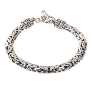 Handmade Dragon and Naga Snake Chain Bracelet (Indonesia) - Silver