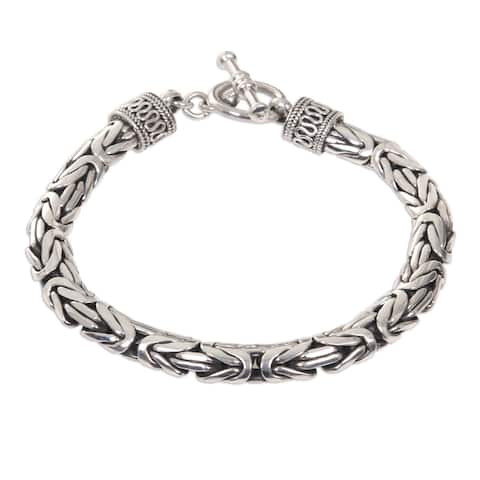 Dragon Traditional Balinese Hook Closure and Naga Snake Chain in 925 Sterling Silver Casual or Dress Mens Bracelet (Indonesia)