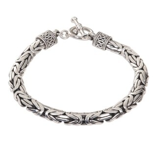 Handmade Dragon Traditional Balinese Hook Closure and Naga Snake Chain in 925 Sterling Silver Mens Bracelet (Indonesia)