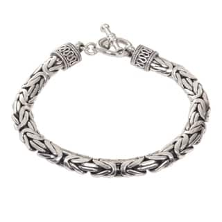 Handmade Dragon Traditional Balinese Hook Closure And Naga Snake Chain In 925 Sterling Silver Mens Bracelet