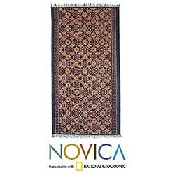 Cotton Tie-dye 'Flowering Grass' Wall Hanging (Indonesia)