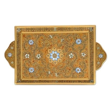 Painted 'Butterscotch Blossoms' Glass Tray (Peru)