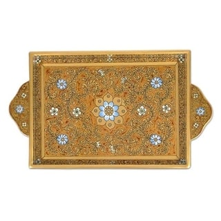 Painted 'Butterscotch Blossoms' Glass Tray (Peru)|https://ak1.ostkcdn.com/images/products/3481668/P11551727.jpg?impolicy=medium