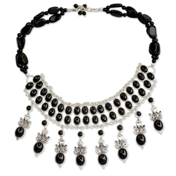 """Handmade Black Lotus Onyx Sterling Silver Choker (India) - 2.8"""" x 14.25"""""""