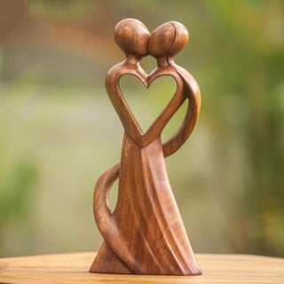 Wood 'My Heart and Yours' Statuette, Handmade in Indonesia