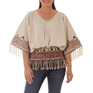 Hypnotic Geometry Multicolor Twine Emboidery 100-percent Cotton with Fringe Elastic Waist Womens Blouse Top (Thailand)