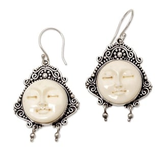 Handmade Sterling Silver 'Moon Princess' Cow Bone Earrings (Indonesia)