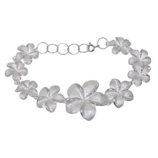 Handmade Sterling Silver 'Frangipani Glam' Bracelet (Indonesia)