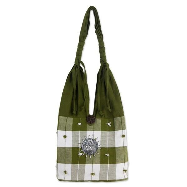 Handmade Cotton 'Green Plaid Elephant' Handbag (Thailand)