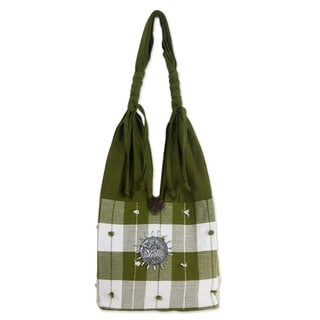 Handmade Cotton 'Green Plaid Elephant' Handbag (Thailand)