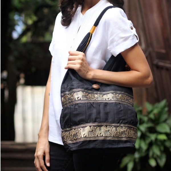 Gold Elephants Parade Across a Black Cotton Lined with Zip Pocket Wood Button Closure Womens Hobo Shoulder Bag (Thailand)