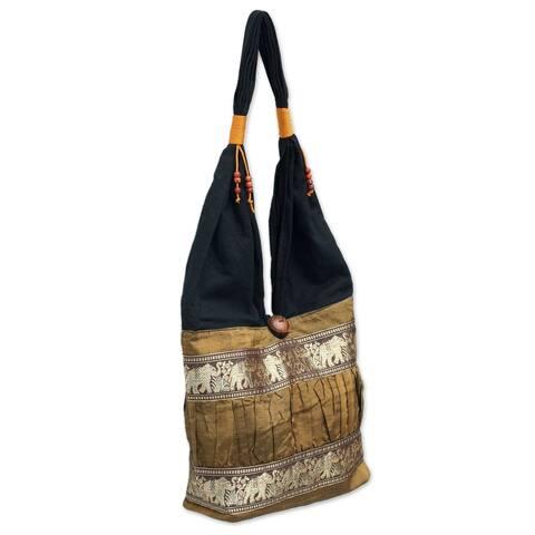 Handmade Gold Elephant Parade Silk and Cotton Shoulder Bag (Thailand)