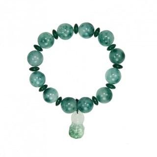 Handmade Elastic Jade Bracelet with Buddha Charm (China)