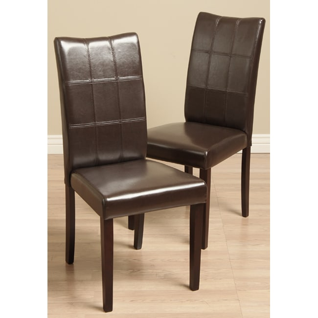 Eveleen Bi cast Leather Brown Dining Chairs Set of 2  : Eveleen Bi cast Leather Brown Dining Chairs Set of 2 L11552096a from www.overstock.com size 650 x 650 jpeg 34kB