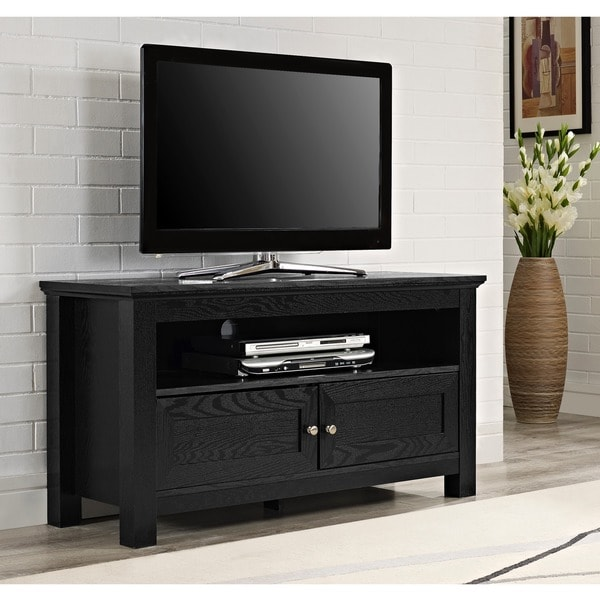 tv stand black shop 44 inch black wood tv stand free shipping today 10885