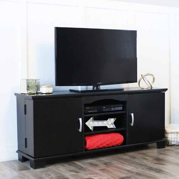 Black Wood 60-inch TV Stand Console - Free Shipping Today - Overstock.com - 11552152