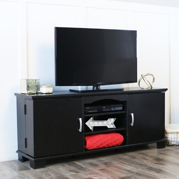 shop black wood 60 inch tv stand console on sale free shipping today 3482115. Black Bedroom Furniture Sets. Home Design Ideas