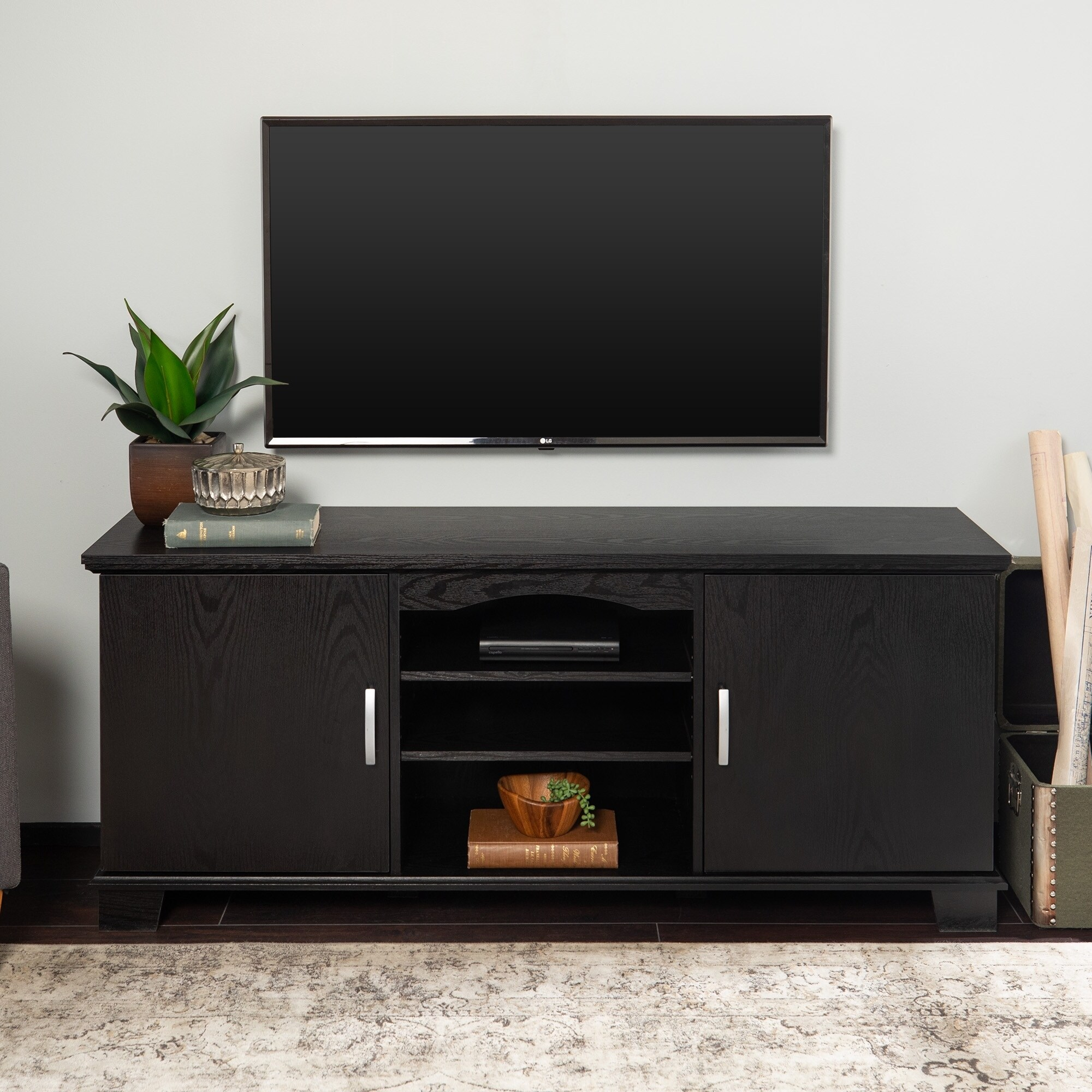 Middlebrook Designs 57 Inch Tv Stand Console Black Entertainment Center 2 Door Media Storage X 16 24h