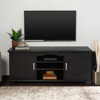 Middlebrook Designs 57-inch TV Stand Console, Black, Entertainment Center, 2-door Media Storage Console - 57 x 16 x 24h