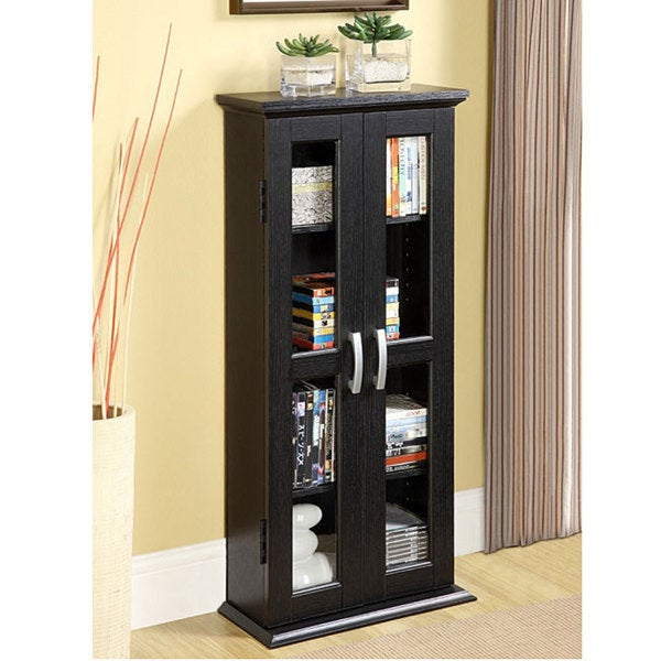 Black Wood Media Storage Tower - Free Shipping Today ...