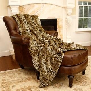 Aurora Home Leopard Print Faux Fur Throw