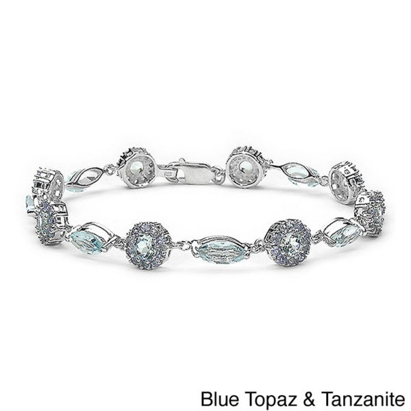 Malaika Sterling Silver Amethyst/ Blue Topaz and Tanzanite Bracelet
