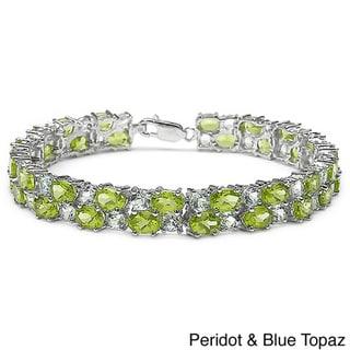 Malaika Sterling Silver Gemstone 2-row Bracelet