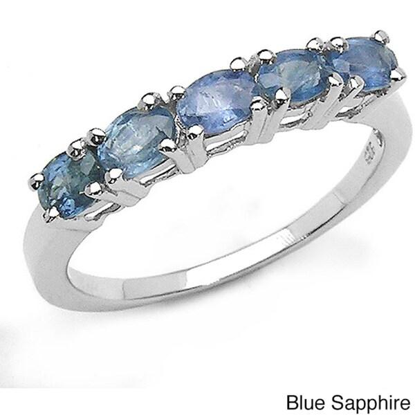 Malaika Sterling Silver Sapphire 5-stone Ring