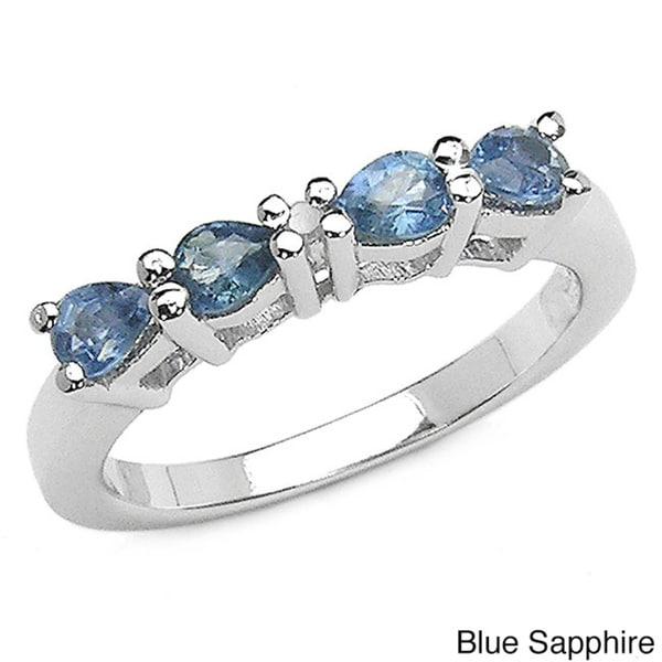 Malaika Sterling Silver Sapphire Diamond Ring