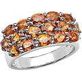Malaika Sterling Silver Genuine Orange Sapphire Ring