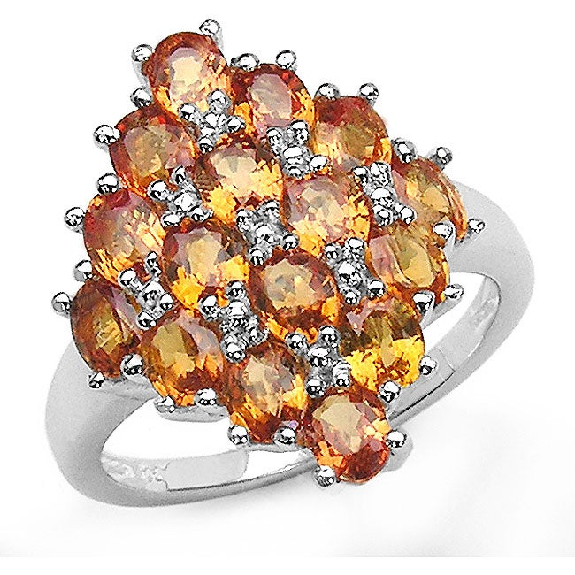 Malaika Sterling Silver Oval Orange Sapphire Ring