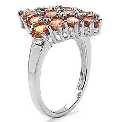 Malaika Sterling Silver Oval Orange Sapphire Ring - Thumbnail 1