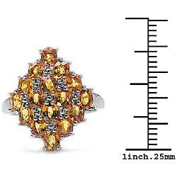 Malaika Sterling Silver Oval Orange Sapphire Ring - Thumbnail 2
