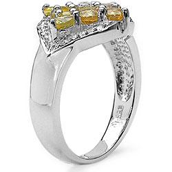 Malaika Sterling Silver Yellow Sapphire and Diamond Ring - Thumbnail 1
