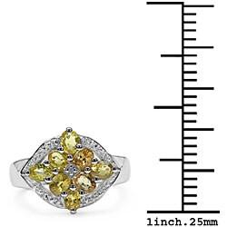 Malaika Sterling Silver Yellow Sapphire and Diamond Ring - Thumbnail 2