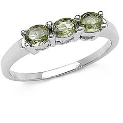 Malaika Silver Genuine Gemstone 3-stone Ring