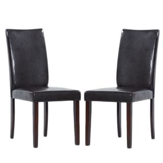 Shino Brown Bi-cast Leather Dining Chairs (Set of 8)