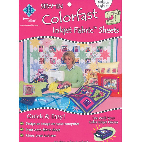 Colorfast Sew In 8 5x11 White Inkjet Fabric Sheets Pack