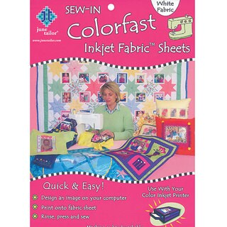 June Tailor Colorfast Sew-in 8.5x11 White Inkjet Fabric Sheets (Pack of 3)