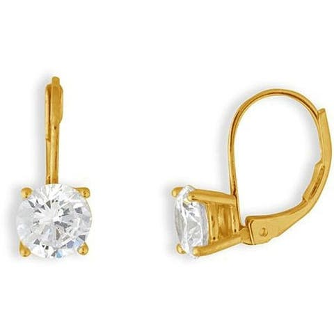Gold Overlay CZ Hoop Basket-set Earrings by Simon Frank Designs