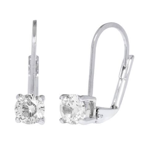 Simon Frank Designs Leverback CZ Solitare Drop Earrings