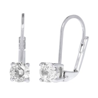 Simon Frank Designs Classic Silver Overlay Leverback CZ Solitare Drop Earrings (Option: Clear)