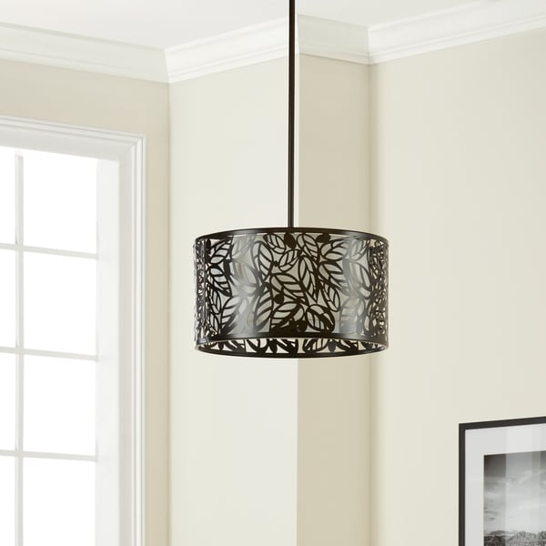 The Curated Nomad Black Glass/Metal Leaf Hanging Light