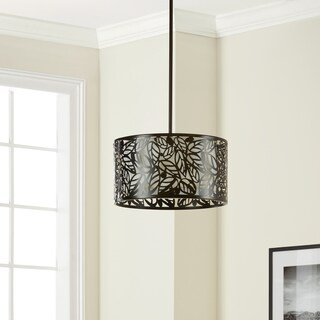 Clay Alder Home Black Glass/Metal Leaf Hanging Light