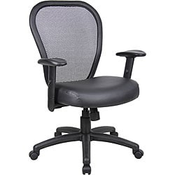 Professional Managers Mesh Chair with Bonded Leather Seat