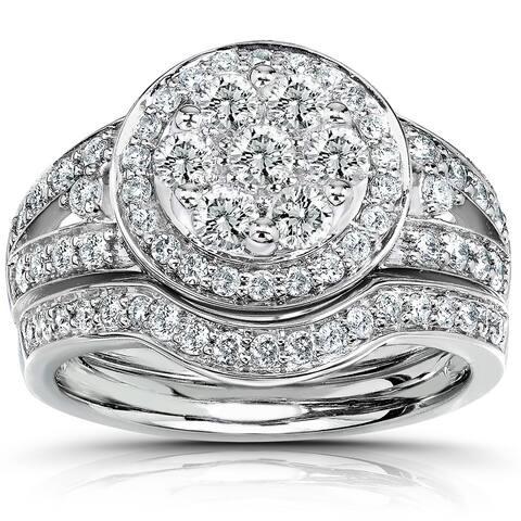 Annello by Kobelli 14k White Gold 1 Carat TDW Round Diamond Cluster Halo Bridal Rings Set