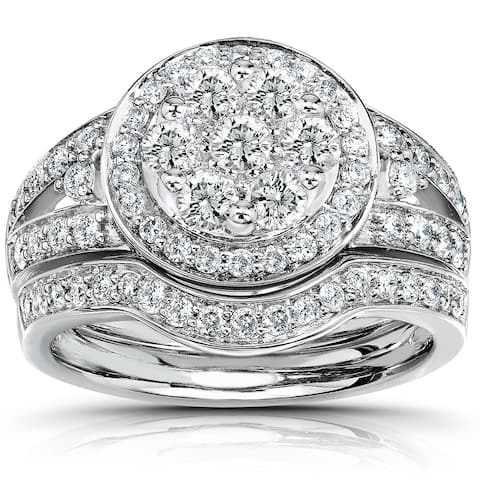 Annello by Kobelli 14k White Gold 1 Carat TDW Round Diamond Cluster Halo Bridal Rings Set