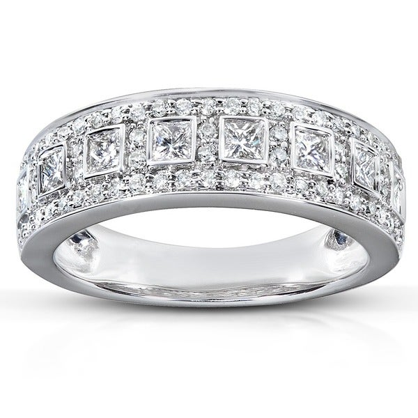 Annello by Kobelli 14k White Gold 5/8ct TDW Princess Diamond Ring (H-I, I1-I2)